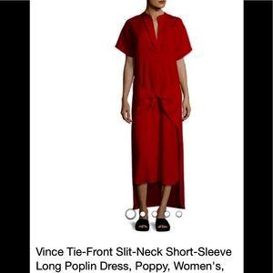 Vince Poppy Dress. Tie Front Slit-Neck, long.